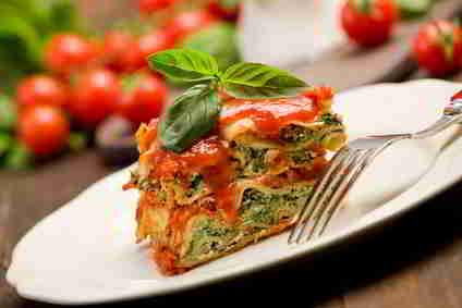 Lasagne, kalorienreduzierte Zubereitung. Kalorien